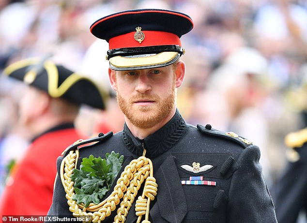 Prince Harry pictured at the Founder's Day Parade, also known as Oak Apple Day, at the Royal Hospital Chelsea in London in June 2019