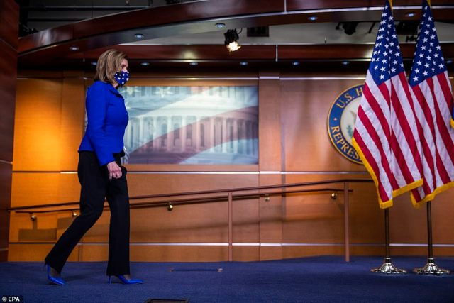 House Speaker Nancy Pelosi (left) released a statement Wednesday lashing out at McCarthy for allowing the GOP to become the 'Party of QAnon'