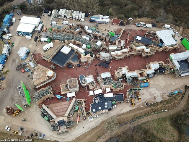 Epic: Drone images taken above the set shows a huge set, featuring dozens of small, sandy buildings, forming a town at a former quarry. Large marquees have also been raised to make room for the crew