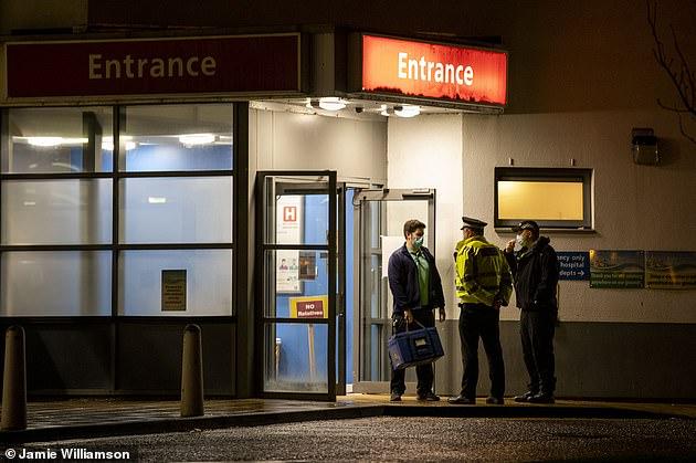 Dozens of police cars and emergency vehicles surrounded University Hospital Crosshouse near Kilmarnock