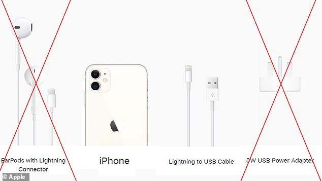 Pictured here is Apple's breakdown of 'what's in the box' with the iPhone 11, released in 2019, and what was eliminated from the iPhone 12 box (crossed out in red)