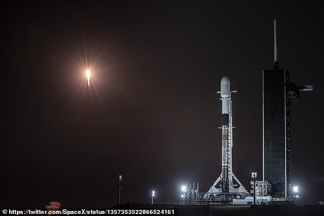 SpaceX has ramped up its Starlink mission, with the goal of sending new batches of satellites into orbit every week – and sometimes twice a week. The firm's latest launch took off Thursday (pictured), which brought the satellite constellation to more than 1,000 devices