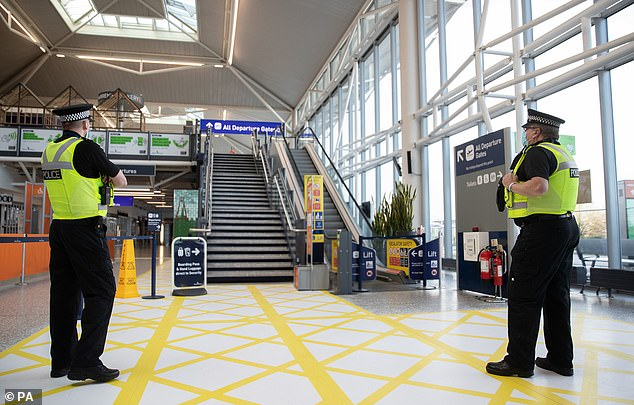 The Avon and Somerset officers have been stopping people inside the airport and asking them what they are travelling for, after the Government made it illegal to travel without a legally  permitted reason