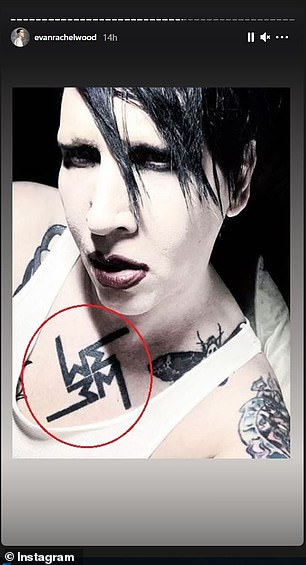 Wood also shared an image of a tattoo on Manson's chest