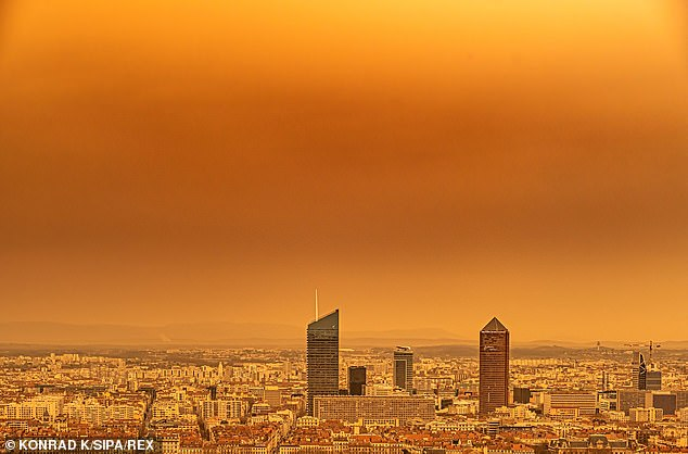 An orange glow was seen over Lyon, France, today.The National Meteorological and Climate Service for France tweeted: 'A low pressure system on the Iberian Peninsula organises a powerful southerly flow which brings up sand from the #Sahara as far as France'