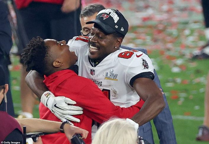 Antonio Brown #81 of the Tampa Bay Buccaneers celebrates winning Super Bowl LV at Raymond James Stadium on Sunday