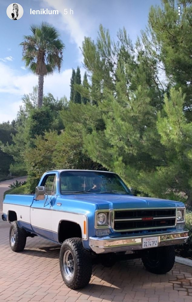 Cool wheels: The 16-year-old appeared to be impressed with the blue pickup truck, taking to her Instagram Stories to share a snapshot of it
