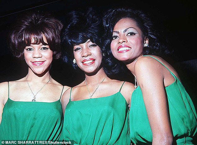 All change: Wilson (centre) became the longest serving member of The Supremes after Ballard (left) quit in 1967, followed by Diana Ross (right) in 1970