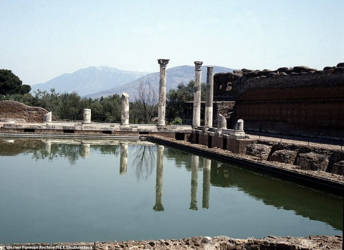Pictured: the villa's 'Stoa Poikile', a colonnaded walk (or 'painted portico) copied from its famous counterpart in Athens
