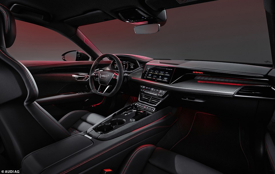 The sporty but minimalist cockpit-like interior has a dashboard – with 12.3 inch screen plus a 10.1 inch infotainment screen
