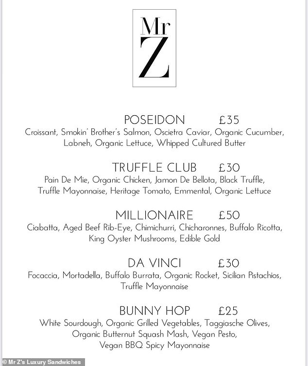 Mr Z's Luxury Sandwiches (above, full menu) is based in Chelsea, London, and delivers the snacks to other posh London neighbourhoods, including Kensington and Knightsbridge