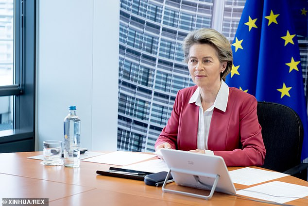 The European Commission faced a pincer movement as politicians on both sides of the Channel criticised its ban on fresh UK exports. Pictured: European Commission President Ursula von der Leyen