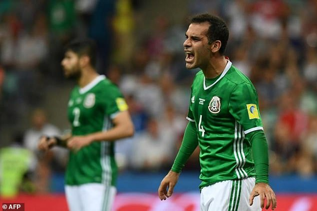 """Rafael Marquéz , the former captain of Mexico's national soccer team, was among 22 individuals and 43 entities sanctioned by the U.S. Treasury Department in August 2017 for allegedly acting as a """"front man"""" Raúl Flores, a Mexican drug trafficker who had ties to the multiple rival cartels.The picture here shows him during the 2017 Confederations Cup semifinal match against Germany in Sochi"""