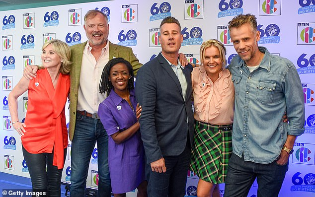 Moving on: Despite leaving Blue Peter in scandal, Richard returned for the show's 60th anniversary episodes on 2018 (pictured far right with Anthea Turner, John Leslie, Diane-Louise Jordan, Tim Vincent and Katy Hill)