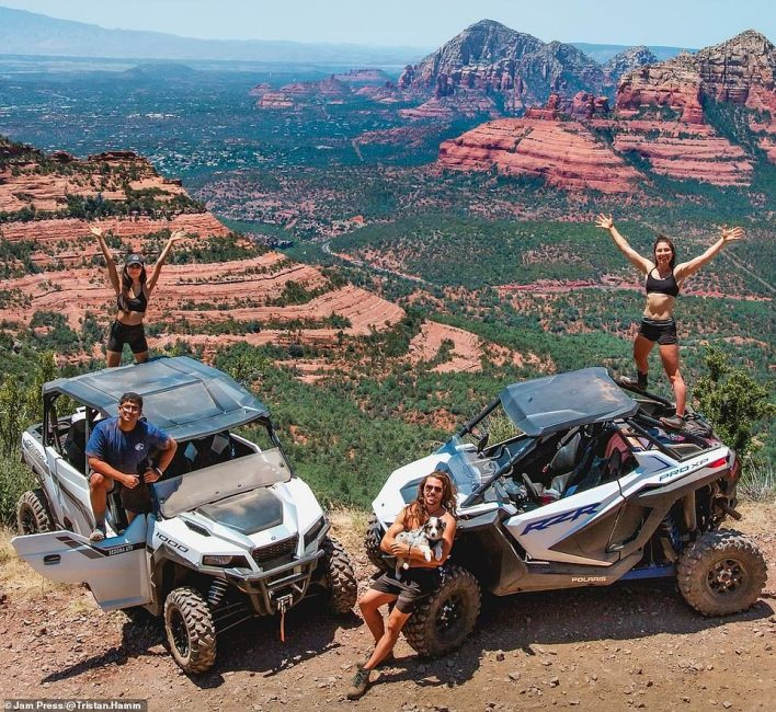 This striking image shows Tristan leading an off-road trip in Sedona, Arizona