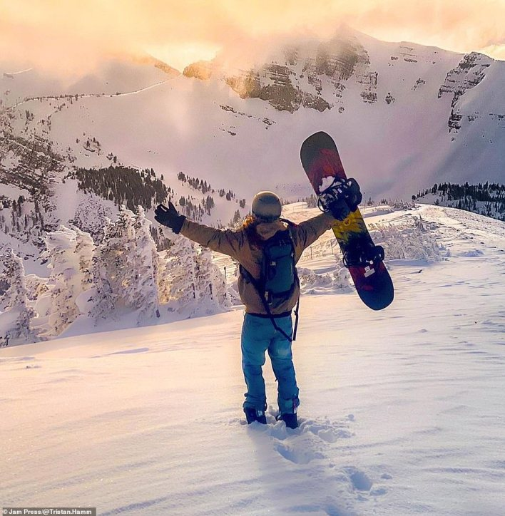 Tristan said: 'Having a pretty rough childhood growing up, it was those little weekend escapes to my grandfather's cabin or getting out into the woods with my uncles that made me feel like, for a brief moment, nothing else mattered in the world.' He's pictured here at Jackson Hole Mountain Resort