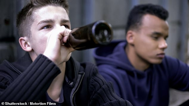 New research has revealed that teens with friends outside school are more likely to drink alcohol and lie to their parents, than those whose main friendship group is at their own school (stock image)
