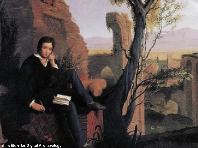 This is a portrait of Posthumous Portrait of Percy Shelley writing in 1845 in Rome - the image was one used for inspiration by the Keats virtual resurrection team