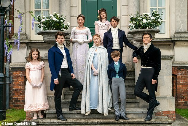 Counting down! The show's second series and will focus on Anthony's search for love (pictured L-R the Bridgerton siblings and their mother: Hyacinth (Florence Hunt), Colin (Luke Newton), mother Violet (Ruth Gemmell), Daphne (Phoebe Dynevor), Eloise (Claudia Jessie), Anthony (Jonathan Bailey), Gregory (Will Tilson) and Benedict (Luke Thompson)