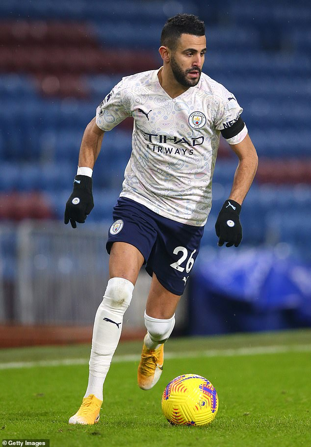 Pictured: Mahrez during Manchester City;' win over Burnley on February 3