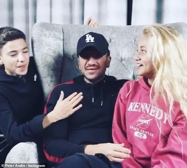 Family: The star credited her children with helping her get through her lowest points (pictured Junior and Princess with their dad Peter Andre)