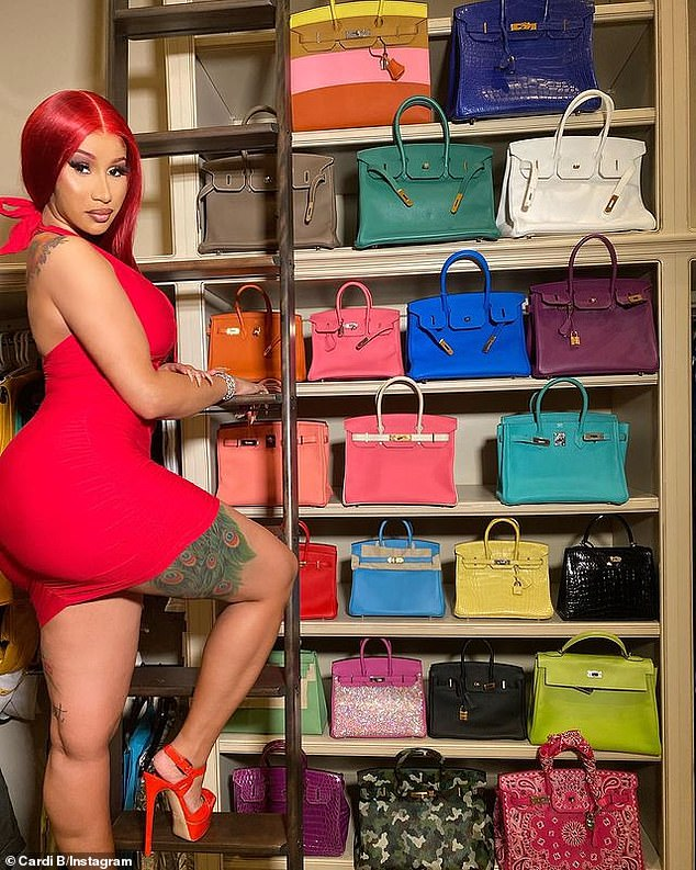 Envy: She showed off her impressive collection of Hermes Birkin bags late last year with a simple snap as she climbed into her private closet and posed amid a sea of designer pieces.