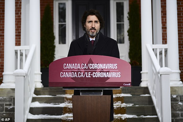 Canadian PM Justin Trudeau, pictured, has come under pressure over a slow vaccine roll-out and for failing to get firm guarantees from Brussels that the EU will not hold up shipments