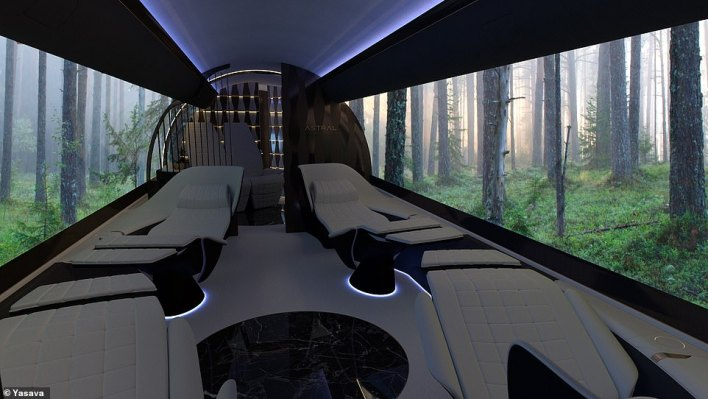 The OLEDs can be used on 'select surfaces, replacing traditional wood veneers' and come in various sizes, says Yasava. Here the screens show a serene forest scene