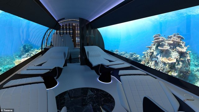 Cabin design company Yasava says it can customise the interior of a private jet with wall-to-wall OLED screens that can display movies or landscapes of the customer's choosing. This rendering shows a jet interior with a calming underwater scene