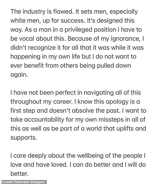 Justin Timberlake posted this statement on Instagram on Friday to apologize for his past treatment of women
