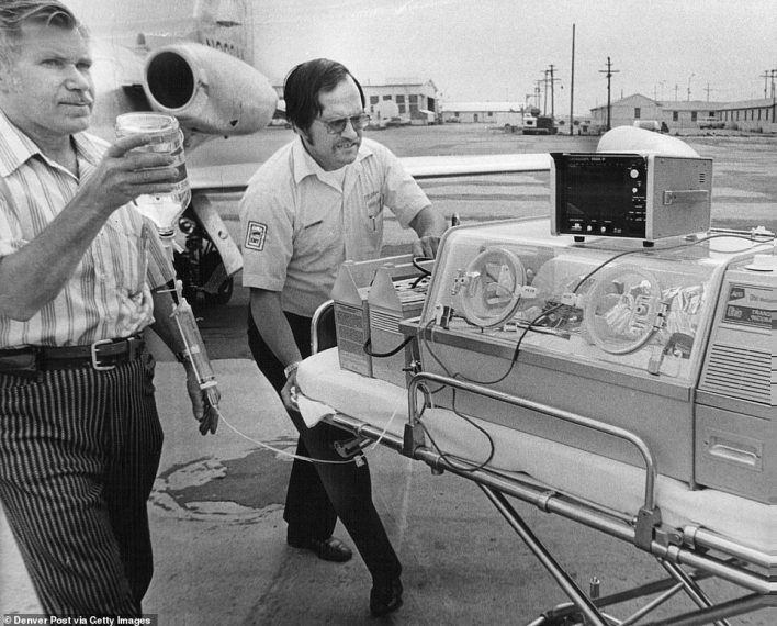 Pictured, a baby being rushed to hospital in Colorado via a Learjet flight in July 1973