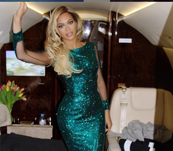 Beyonce pictured in the cabin of her privateBombardier jet in an undated picture