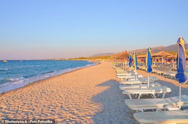 With easyJet Holidays, you can book a week's B&B at the Star Hotel close to the beach in Tigaki, pictured, on the Greek island of Kos for £391 in August