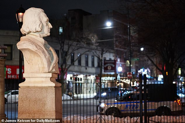 Police vehicles could be seen at the Columbus statue in D'Auria-Murphy Triangle in the Bronx