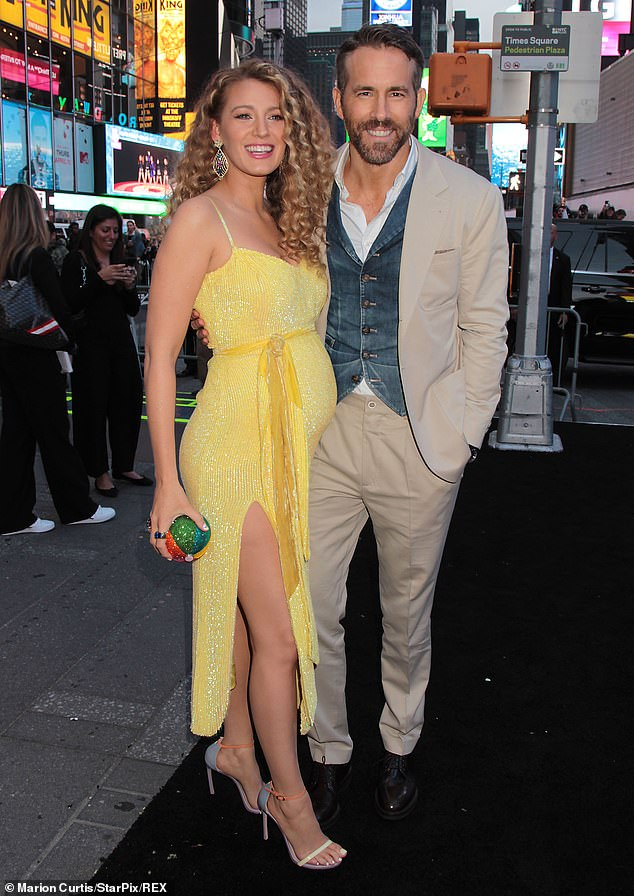 Having a laugh: Ryan Reynolds, 44, shared a joking letter Saturday on Instagram that he claimed he'd forgotten to send back to a fan in 2016 in which he claimed he meant to stop after his second child; seen in 2019 with wife Blake Lively