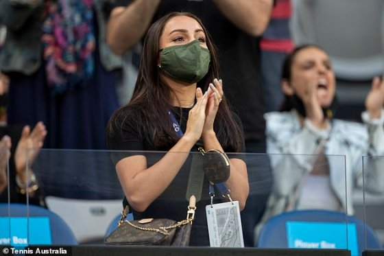 Ms Passari (pictured) was seen supporting her boyfriend in the stands at the Australian Open on Friday