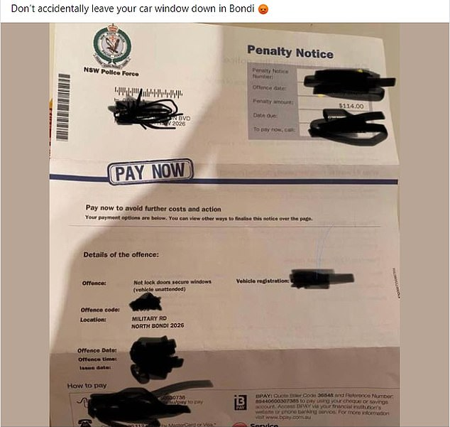 A man was parked legally in North Bondi but was slapped with a $114 fine (pictured) for forgetting to wind up his windows