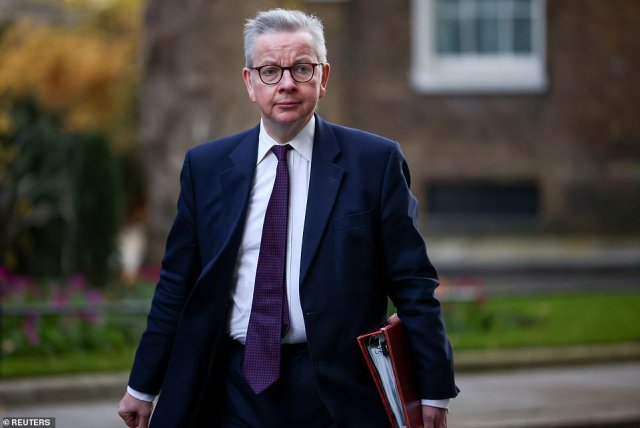 Michael Gove (pictured) is believed to be proposing a 'mutual enforcement' plan which would see the Northern Irish border restored and the same checks applied to both UK and EU trade