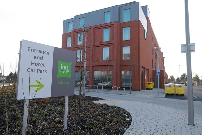 The Ibis Styles London Heathrow East is set to welcome guests. It is seen last week with large medical bins outside