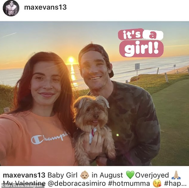 Over the moon:A thrilled Max announced the news to friends oas he posed alongside his girlfriend