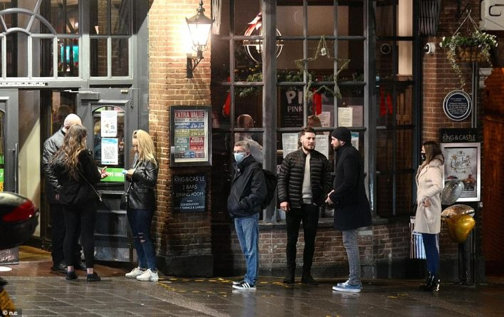 Patrick Dardis, chief executive of the Young's pubs chain, said wet weather would make the outdoors-only idea unworkable and a partial reopening would not be viable for many landlords. People are seen outside a pub in the rain in Windsor hours before Tier 3 restrictions came in last year
