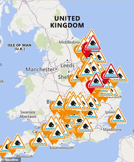 England has six warnings in place. Warnings are mean flooding 'is expected' and 'immediate action is required'. The warnings including one near Peterborough, Cambs, another in Burnham Market, Norfolk, and a cluster near to the town of Beverly in East Riding, Yorks.