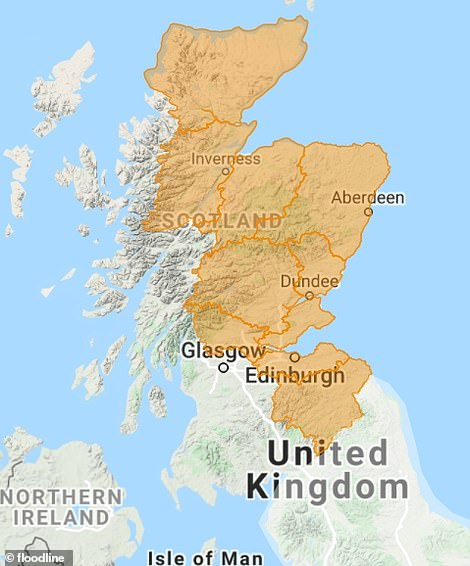 The Scottish Environment Protection Agency has 10 flood alerts in place across Scotland, covering large parts of the north and eastern areas of Scotland, including Edinburgh and Dundee