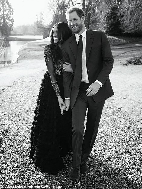 At the beginnning: Alexi Lubomirski took this photo of Meghan and Harry in the grounds of Frogmore Cottage, their former Windsor home, one of two official engagement photos released in December, 2017