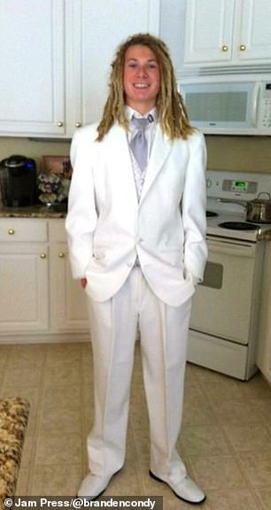Branden Cody, from Virginina, aged 18 ready for his Prom