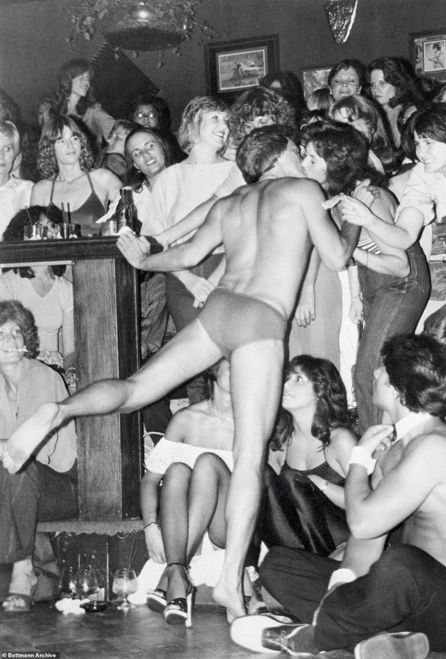 Looking back: The first Chippendales club opened in Los Angeles in 1979, pictured, and women would line up around the block to see the all-male revue