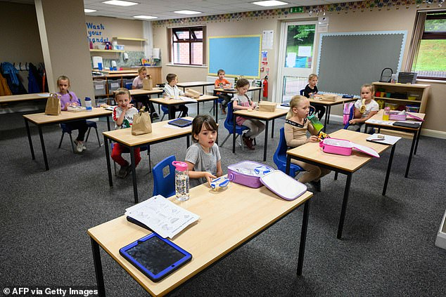 Schools in the UK have had to try and maintain social distancing between children but this is particularly difficult among the very young. On the other hand, missing school is particularly damaging for this age group as they are in key development stages (Pictured: Year 1 and 2 pupils eat lunch at a school in Greater Manchester last year)