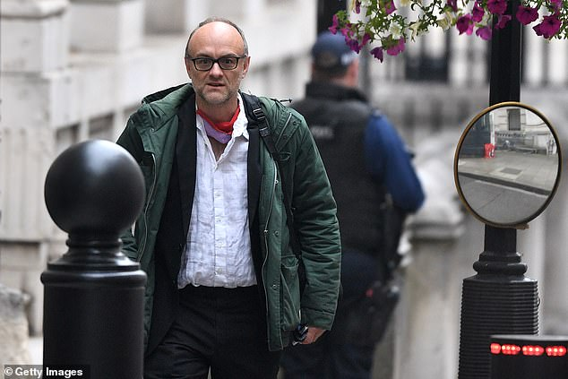 Prime Minister Boris Johnson's former aide Dominic Cummings (pictured) denied asking for a company to be given a focus group contract because the bosses were his 'friends'