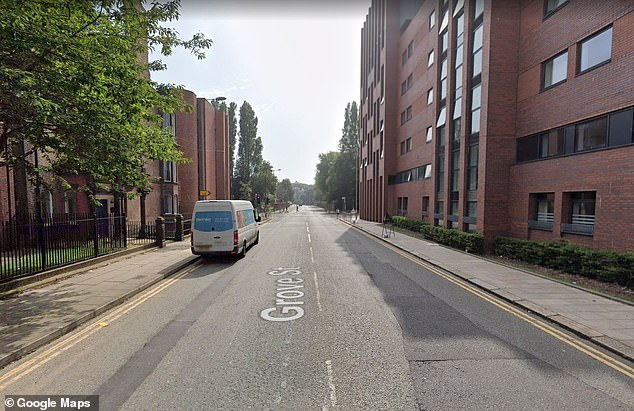 The court heard the woman was awake when she heard a bang before realising the curtains in her living room and her couch was alight at her home in Grave Street, Liverpool. Pictured: A general view of Grove Street