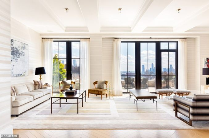 The second-most expensive home to go find a buyer last week was a Walker Tower duplex at 212 West 18th St in Chelsea with an asking price of $27.8million (pictured)